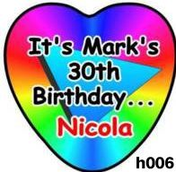 Badges - Personalised for Birthdays - Heart shaped